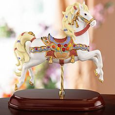Topaz and Tulips Horse Carousel Figurine by Lenox