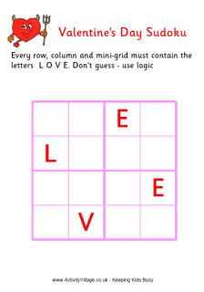 Valentine word sudoku puzzle for kids - easy