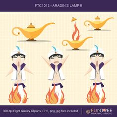 Genie's Lamp Fire Aradin Fairy Tale Clip Art by FuntreeDesign