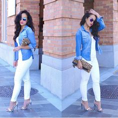 Jean button up with all white and heels