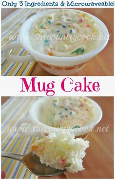 Mug Cake {only 3 Ingredients!} Perfect for when the husband is away and I have a sweets craving but don't want to make an entire cake! trying this tomorrow!