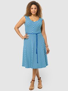 V-neck Shirred Shoulder Dress In Vivid Blue Stripe by Lands'End,Available in sizes M/L,0X/1X/2X and 3X