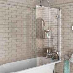 Burlington bathscreen for traditional bath. Clever little access screen for turning on the shower. Burlington baths are sold at Burge & Gunson, Colliers Wood Bath Shower Screens, Shower Over Bath, Shower Rooms, Glass Shower, Traditional Baths, Traditional Bathroom, Melbourne, Sydney, Deco Paris