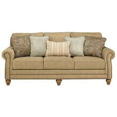 Nebraska Furniture Mart – Ashley Traditional Brown Sofa with Nailhead Trim