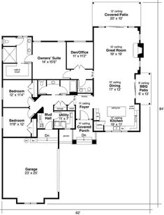 The impressive 1-story home's floor plan has 2321 square feet of heated and cooled living space and includes these features: • Spacious walk-in corner pantry in the kitchen • Good-size laundry room with sink • Fireplace in the Great Room • Home office • Large U-shape kitchen with island / breakfast bar • Mudroom with a bench #houseplan #Mudroom