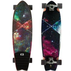 Globe Chromatic Cruiser Galaxy Complete Longboard Skateboard 9.7 x... ($120) ❤ liked on Polyvore featuring skateboard