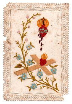 Estampa bordada del Sagrado Corazón firmada por la niña Rosita Sáenz Peña, luego señora de Saavedra Lamas, año 1897.
