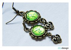dinedesign - Earrings - Cabochon green