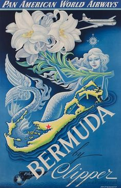 Pan Am World Airlines and Bermuda vintage travel poster with a mermaid Old Poster, Retro Poster, Poster Vintage, Pub Vintage, Vintage Films, Mermaid Poster, Mermaid Art, Retro Airline, Vintage Airline