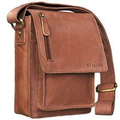 STILORD 'Finn' Mensajero de piel para Hombres / Bolso bandolera / Messenger Bag / Bolso de piel mujeres hombres vintage Tablets hasta 8.4 pulgadas, Color:cognac - marrón claro: Amazon.es: Equipaje