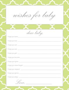 Wishes for Baby - Printable Baby Shower Party Game - Neutral