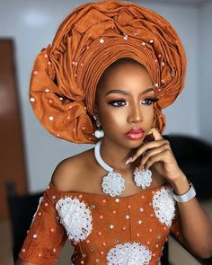 Beautiful Makeup And Gele Styles You Should See Now African Wedding Attire, African Attire, African Wear, African Dresses For Women, African Fashion Dresses, African Women, Traditional Wedding Attire, African Traditional Wedding, Nigerian Bride