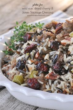 Gluten Free Wild Rice and Sausage Stuffing - so full of flavor and texture you won't miss the bread!