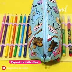 PENCIL CASE Learn how to make a triple pencil case with this easy tutorial =))<br> Diy Craft Projects, Easy Diy Crafts, Diy Arts And Crafts, Sewing Projects, Pencil Case Tutorial, Cute Pencil Case, School Pencil Case, Pencil Bags, Pencil Pouch