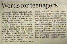 A message for this generation of teenagers ... :)