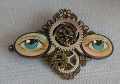 Steampunk Altered Art Eye Glasses Brooch or Scarf Pin Wood Handmade NEW Fashion #handmade #AlteredArt