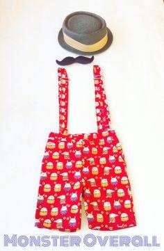 overall #short pant #monster #red #ma boy #www.botakidsshop.com