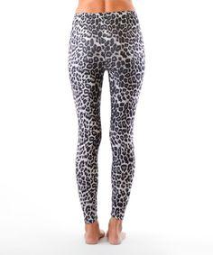 Black & Gray Leopard-Print Leggings