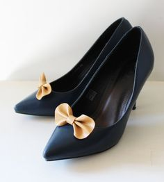 Yellow bow shoe clips Leather bow shoe clips set of by Akamatra