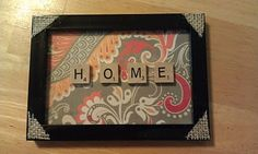 Craft!! Scrabble letter frame. Love the pattern and colors