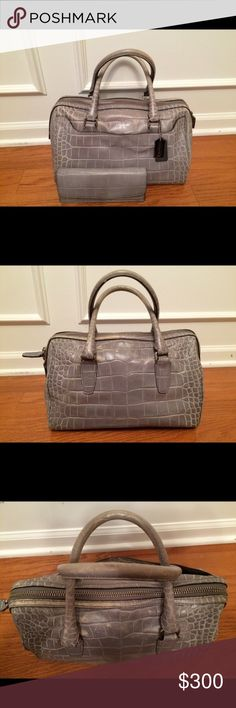 Coach purse with matching wallet Final Price!Great condition grey croc purse with matching wallet. See pictures for condition. Coach Purses, Coach Bags, Fashion Tips, Fashion Design, Fashion Trends, Designer Handbags, Gym Bag, Wallet, My Favorite Things