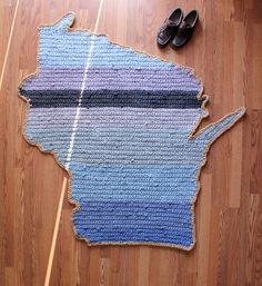 Handmade Wisconsin Map Rug - One of a Kind Coastal Colorblock Rug on Etsy, $200.00