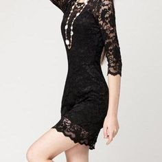 Sexy Long Sleeve Lace In Black