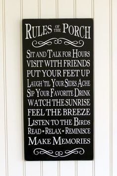 Rules Of The Porch Welcome Sign for Family and Friends www.countryworkshop.net