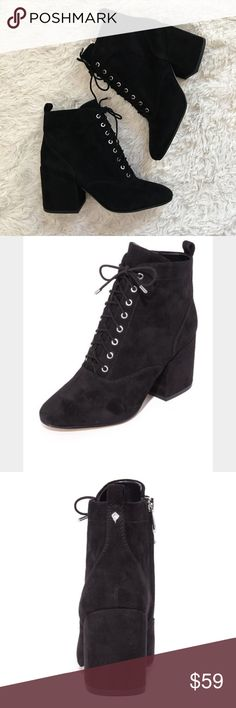 SAM EDELMAN Suede Lace-up Boots NWOT Black genuine leather booties with lace-up front & side zip for easy access. Chunky heel. Make me an offer!! Sam Edelman Shoes Ankle Boots & Booties