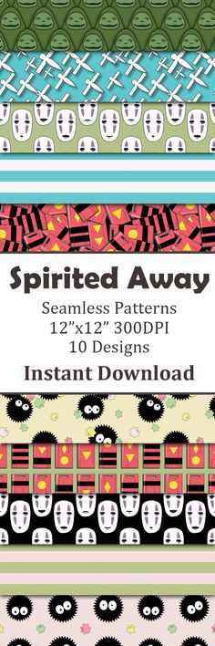 Digital paper inspired by the Studio Ghibli Film Spirited Away by pidesignprints on Etsy