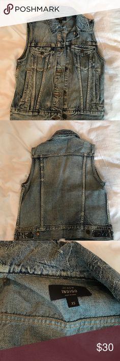 J.crew denim vest Gently worn, Jcrew denim vest. In pristine condition. Purging my closet, size XS. J. Crew Jackets & Coats Vests