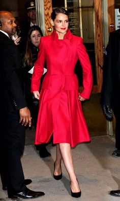 "Katie Holmes does a ""Lady in Red""."