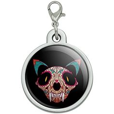 Cat Skull Mexican Day of the Dead Chrome Plated Metal Pet Dog Cat ID Tag - Large ** Check out this great product. (This is an affiliate link) #DogIDTags