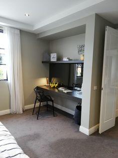 Corner Desk, Oversized Mirror, Cabinets, Flat Screen, Bedroom, Building, Table, Furniture, Home Decor