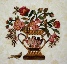 Baltimore Garden Quilts: Cynthia in Texas - Broderie Perse urn and birds