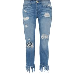 3x1Wm3 Crop Fringe Distressed Mid-rise Straight-leg Jeans ($320) ❤ liked on Polyvore featuring jeans, mid denim, mid rise straight leg jeans, distressed cropped jeans, torn jeans, blue jeans and mid rise jeans
