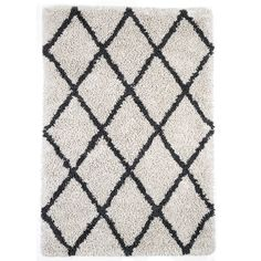 Anji Mountain Silky Shag Ivory With Graphite Diamond Area Rug