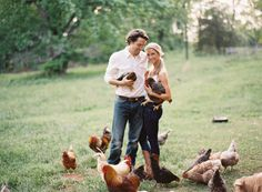 Farm engagement photo with chickens! cuuuute