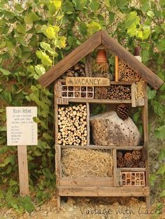 Reclaimed Wood Insect Hotel (from Vintage with Laces)