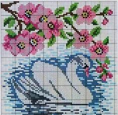 Crafts: designs with swans for embroidery . Cross Stitch Tree, Simple Cross Stitch, Beaded Cross Stitch, Cross Stitch Alphabet, Cross Stitch Flowers, Cross Stitch Charts, Cross Stitch Designs, Cross Stitch Embroidery, Cross Stitch Patterns
