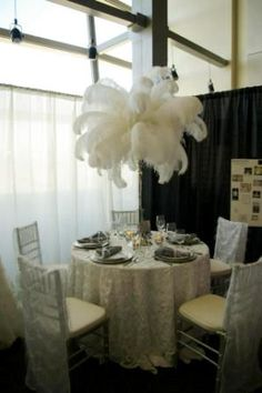 Is this suspended from a ceiling? Feather Centerpieces, Wedding Centerpieces, Wedding Decorations, Wedding Blog, Wedding Events, Dream Wedding, Wedding Ideas, Weddings, Downton Abbey