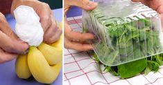 Also Trick 4 hat mich am meisten überrascht! Keep Bananas Fresh, Lifehacks, Apple Vinegar, Freezer Burn, Stale Bread, Good Food, Yummy Food, Household Cleaning Tips, Fresh Meat