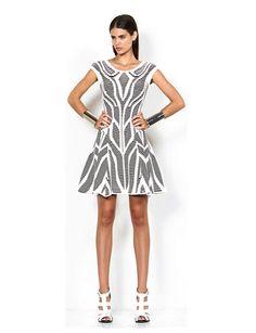 RVN Congo Cutout Illusion Jacquard Flare Dress