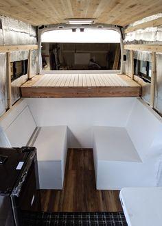 Van Conversion Interior, Camper Van Conversion Diy, Van Conversion Bed Ideas, Van Conversion Floor Plans, Campervan Conversions Layout, Campervan Bed, Campervan Interior, Campervan Ideas, Build A Camper Van
