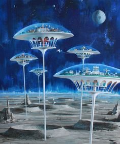 John Berkey - Moon Colonies (by myriac) http://70sscifiart.tumblr.com