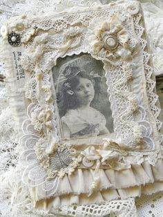 Shabby Chic Inspired, Fabric Collage, Sewing, Lace, Picture Frame, Card Idea