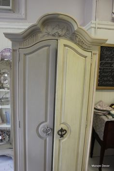 Painting factory finish yellow into an elegant grey using French Linen Chalk Paint™ ....from Maison Decor