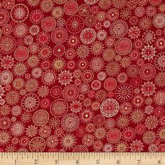 Winter's Grandeur Metallic Small Medallions Crimson