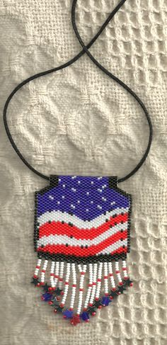 peyote beaded red white and blue patriotic flag necklace