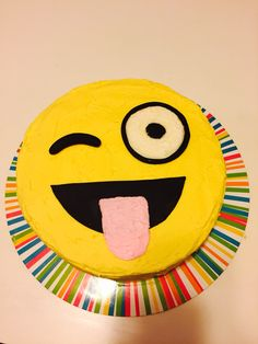 Emoji birthday cake for Madison's 10th birthday!